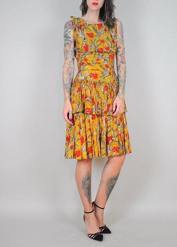1960s HandmadeLayeredCottonFloral Dress - From NOIR OHIO VINTAGE
