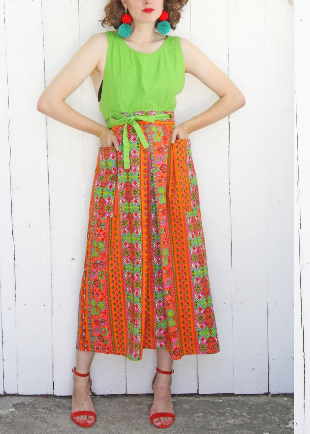 1970sFolk PrintCottonApron Dress - From COAST to COAST VINTAGE