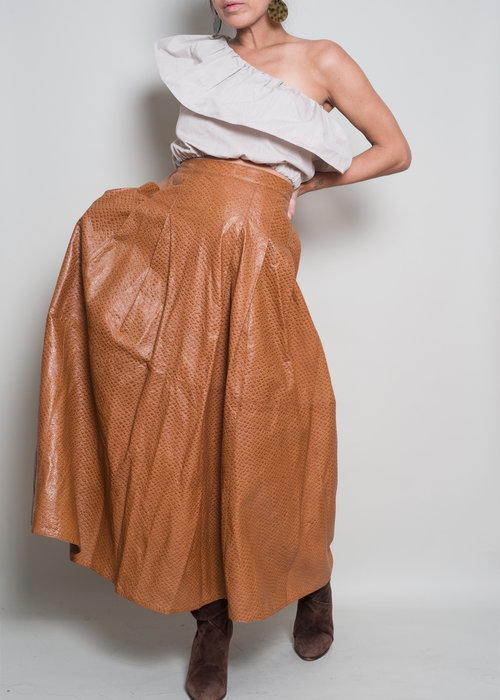 0a3418a30a 1980s// KRIZIA Italy// 100% Leather Skin// Maxi Skirt// Med — A PART ...