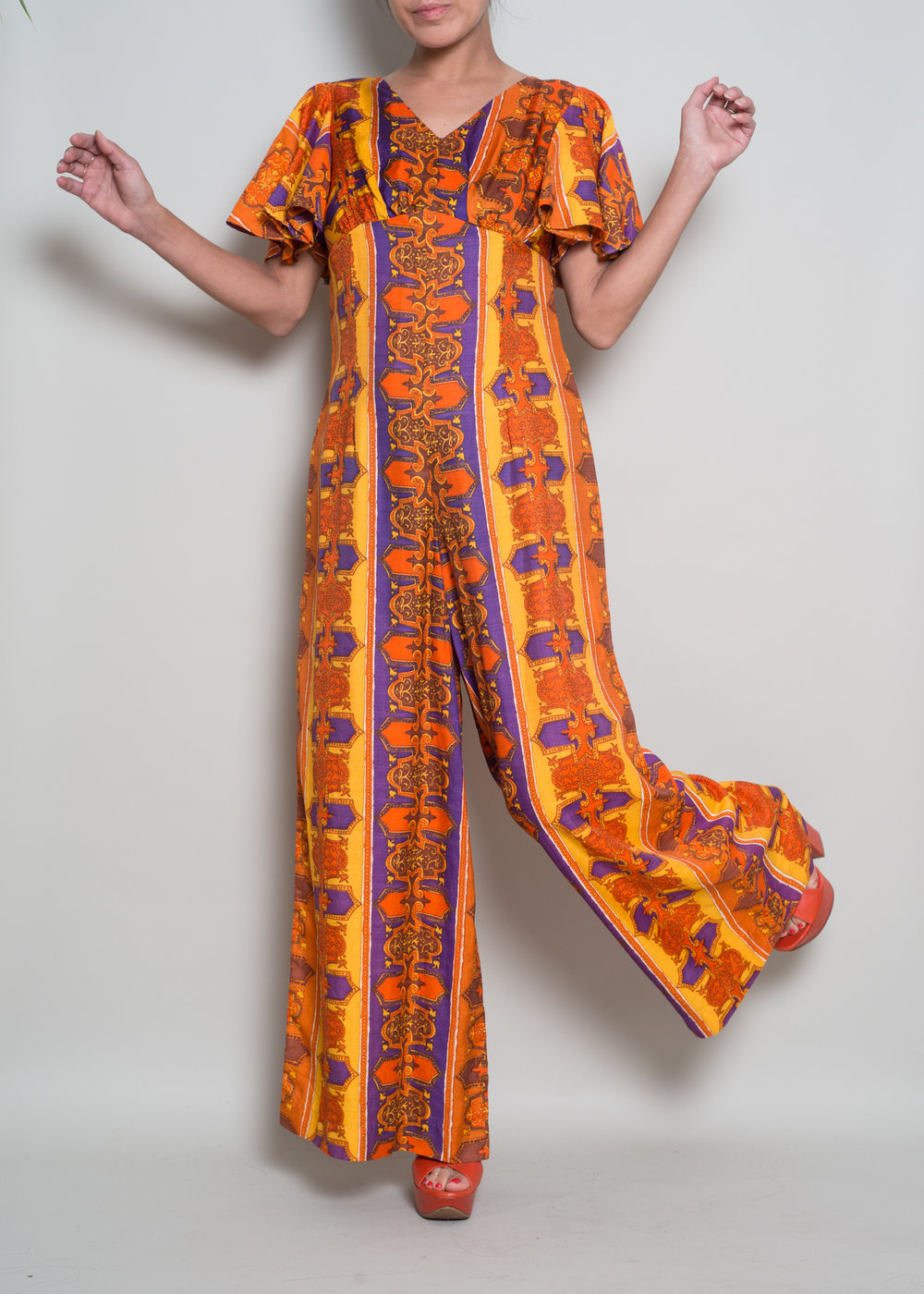 1970s Medallion Printed Jumpsuit - From MADLY VINTAGE
