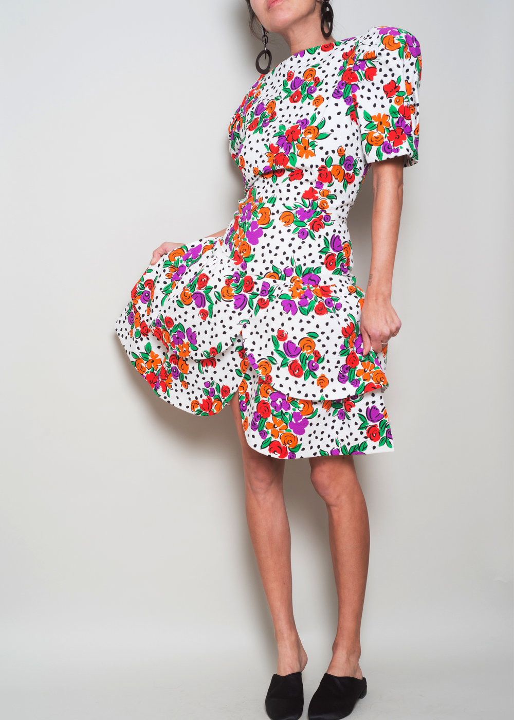 1980s SCAASI Floralpuff sleeve Party Dress - FROM COAST to COAST Vintage