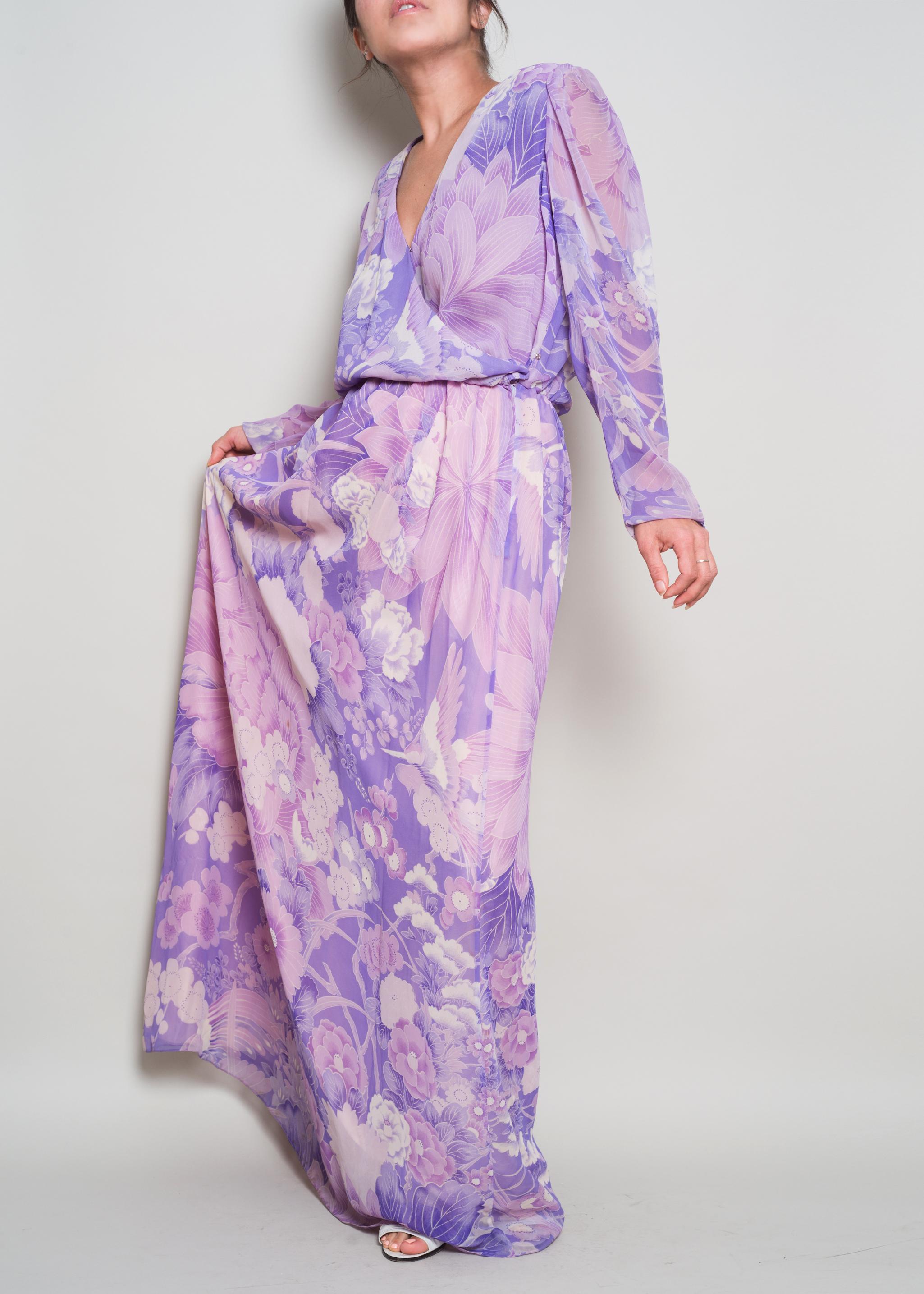f91805177d 1980s   HANAE MORI   Violet Floral Chiffon Maxi Dress   M.  A Part of the rest vintage 1970s Hanae Mori Violet Chiffon Floral Maxi002.jpg