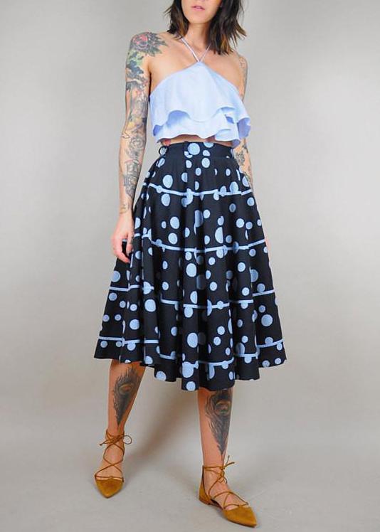 spring polka dot rend- vintage skirt noir ohio.jpg