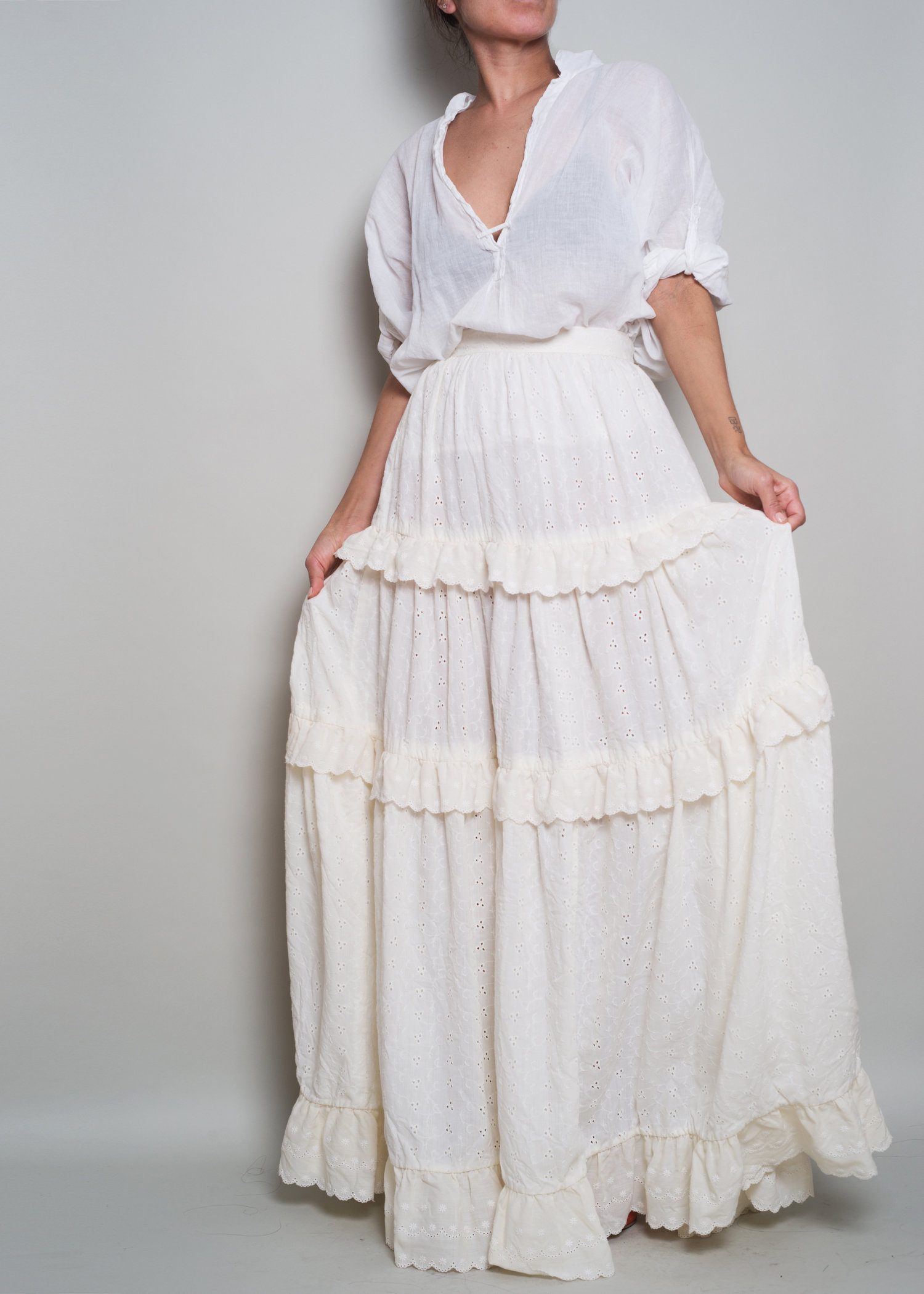 840795921 1970s// Ivory Eyelet Embroidery Tiered Prairie Maxi Skirt// XS — A ...