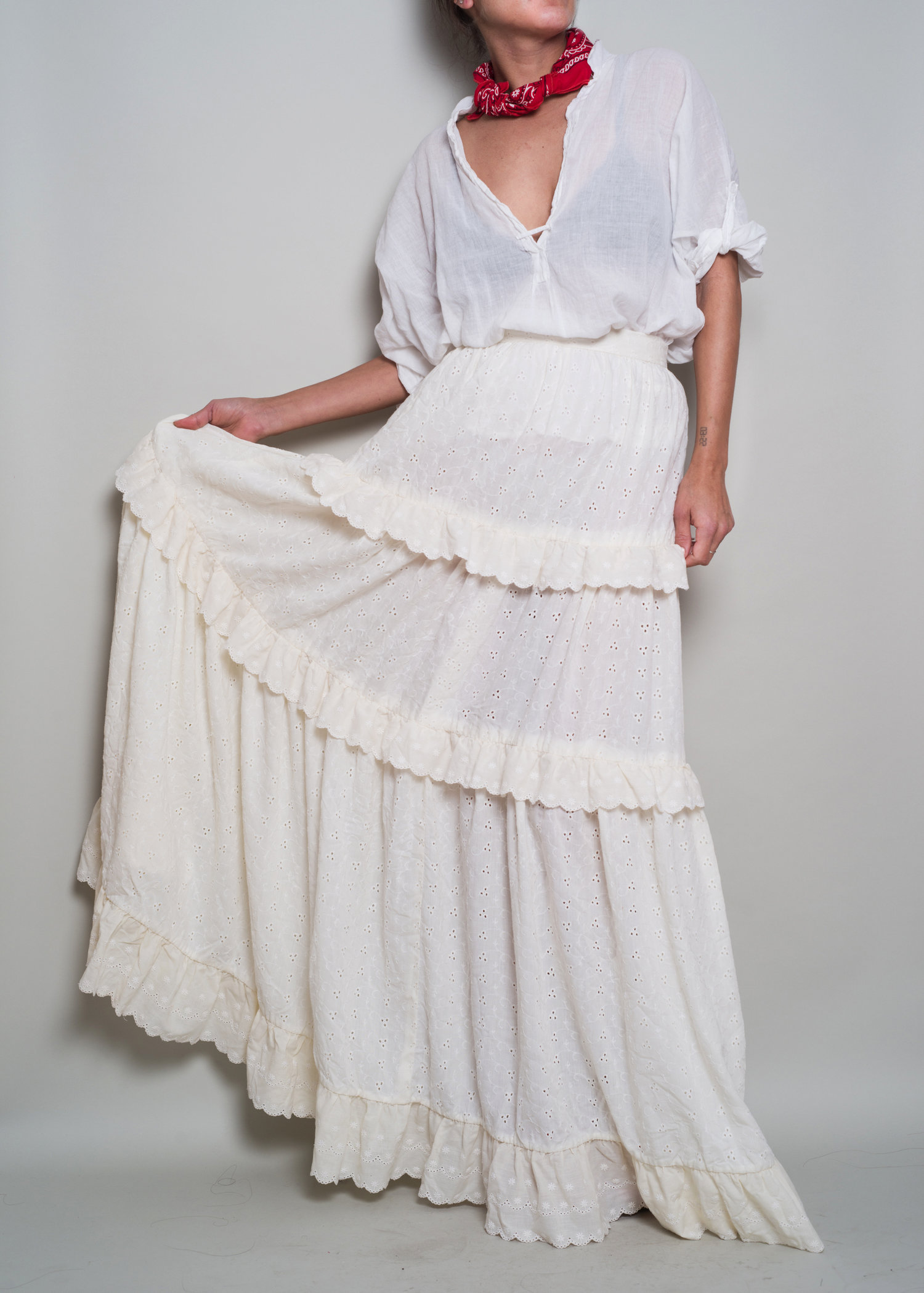 af62cafc9 1970s// Ivory Eyelet Embroidery Tiered Prairie Maxi Skirt// XS.  A_Part_of_the_Rest_Vintage_1970s_Embroidery_Eyelet_Tiered_Ivory_Prairie_Maxi_Skirt001.jpg