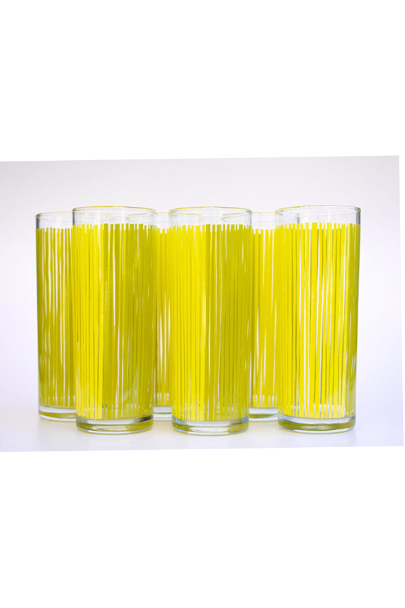 Some Yellow Glasses to drink it in... - I mean if you're going to make yourself that delicious drink, why not put it in these chic and bright vintage tumblers?Check out Etsy for these and some other cool vintage glassware additions for your kitchen.
