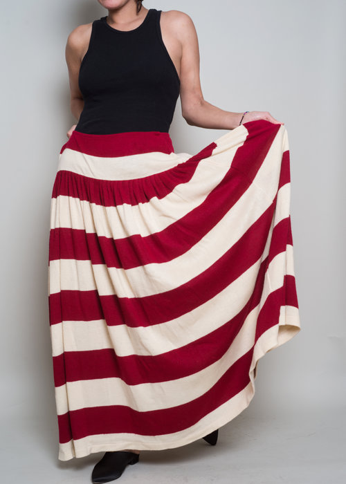 92d1b6f304 1980s// NORMA KAMALI// Red Rugby Stripe Knit Maxi Skirt// L — A PART OF THE  REST
