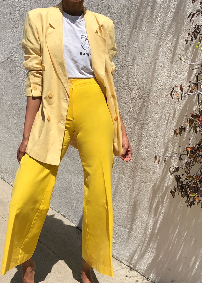Vintage Armani Yellow Linen Blazer and High Waisted Trouser from ELIA Vintage