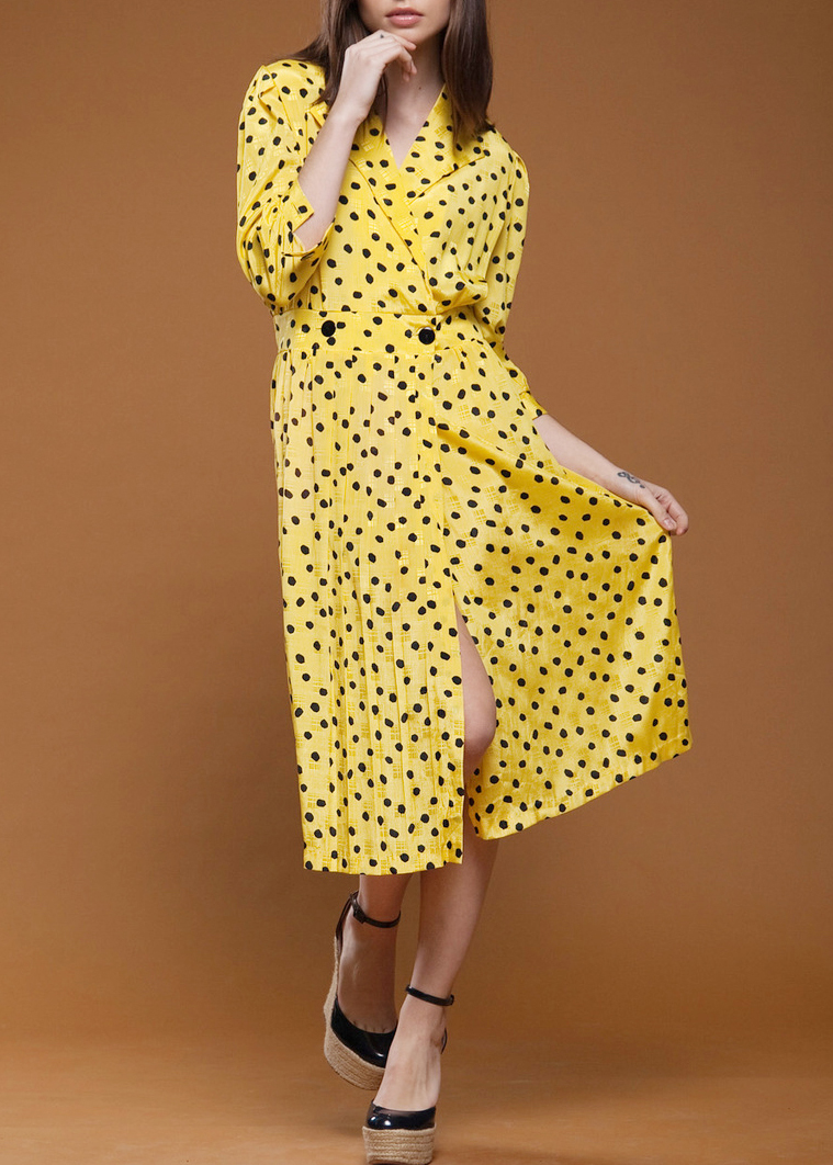 Yellow Silk Dot Print dress from RABBIT HOLE VINTAGE