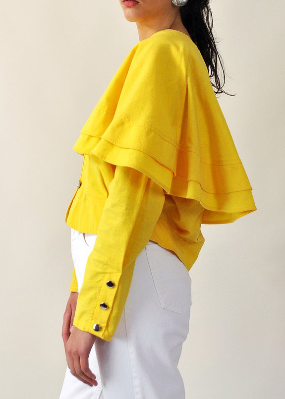 Yellow Capelet Jacket from DOWN HOUSE