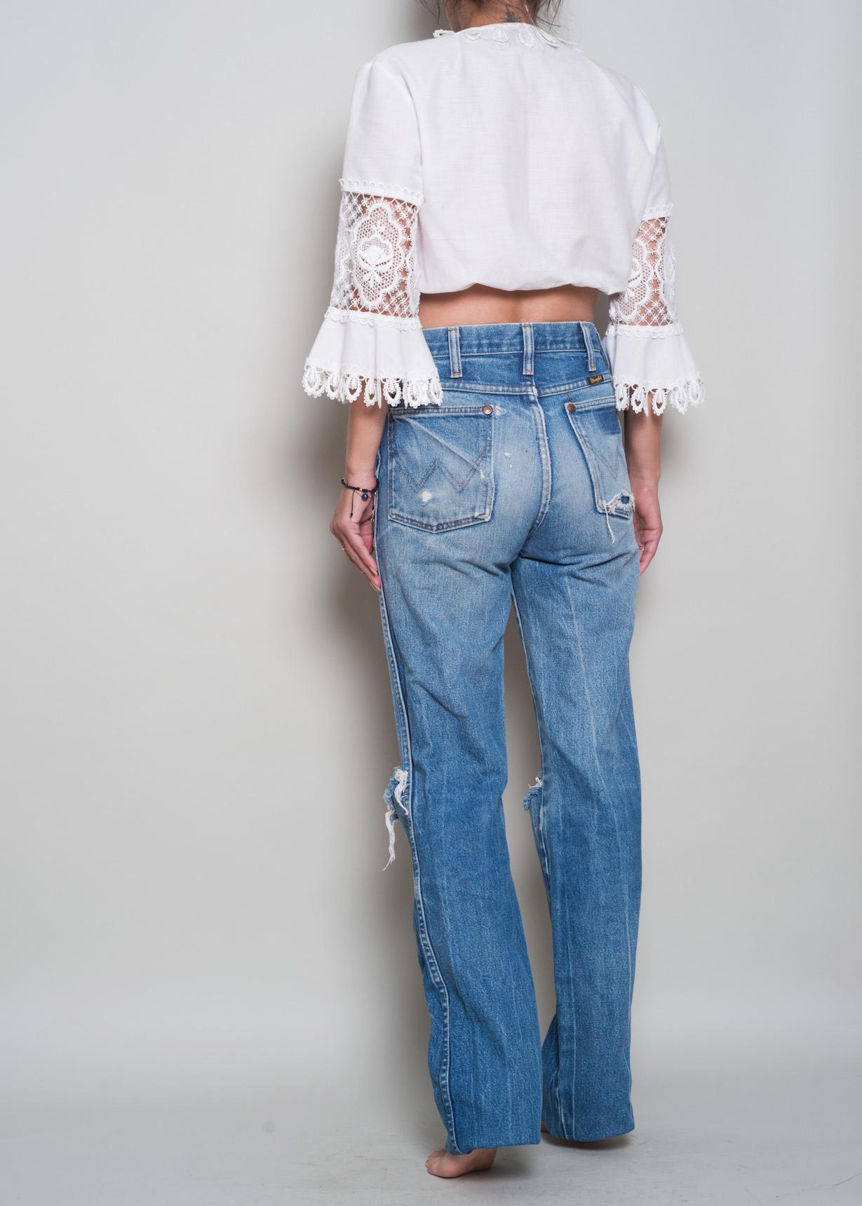 edee3641 1980s// Perfectly Worn WRANGLER High Waist Denim Boyfriend Jeans// 27