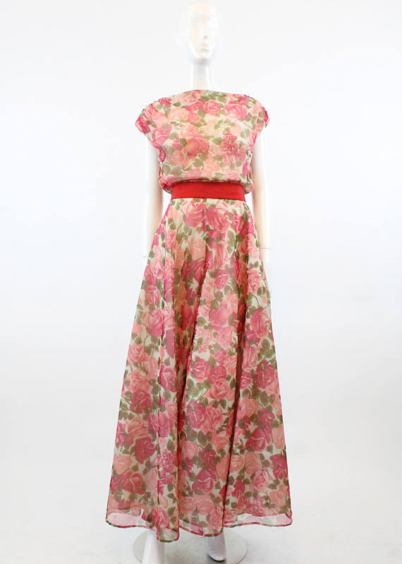 UNDER $500 - This stunning cabbage rose printed chiffon piece may look like a dress, but it a jumpsuit with a stunning wide sweep that is to die for. This is what vintage dreams are made of $342.