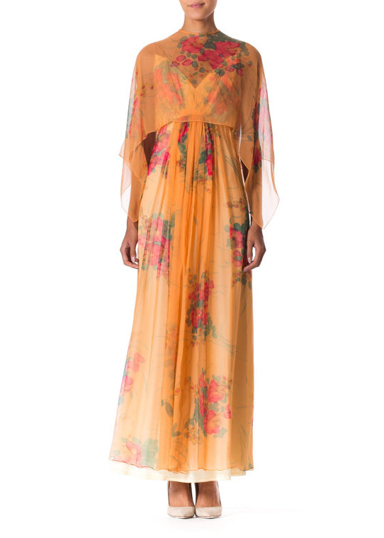 LUXURY - 1970s, hand painted chiffon leaves me lusting after this couture detailed maxi with sheer cape. Some things are just too good to pass by.
