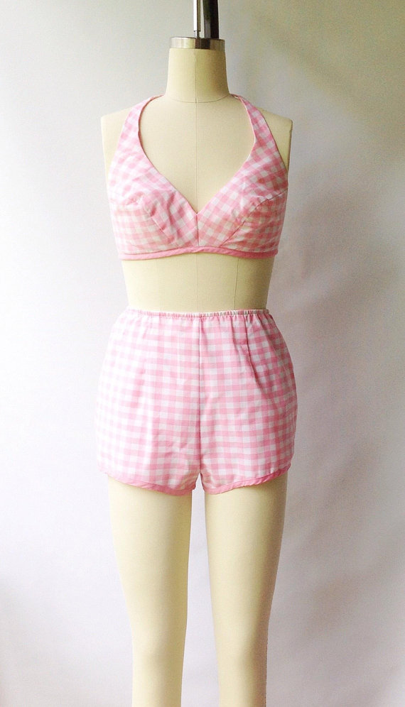 A Part of the Rest recommends Carla Sue Vintage Pink Gingham Swim Set.jpg