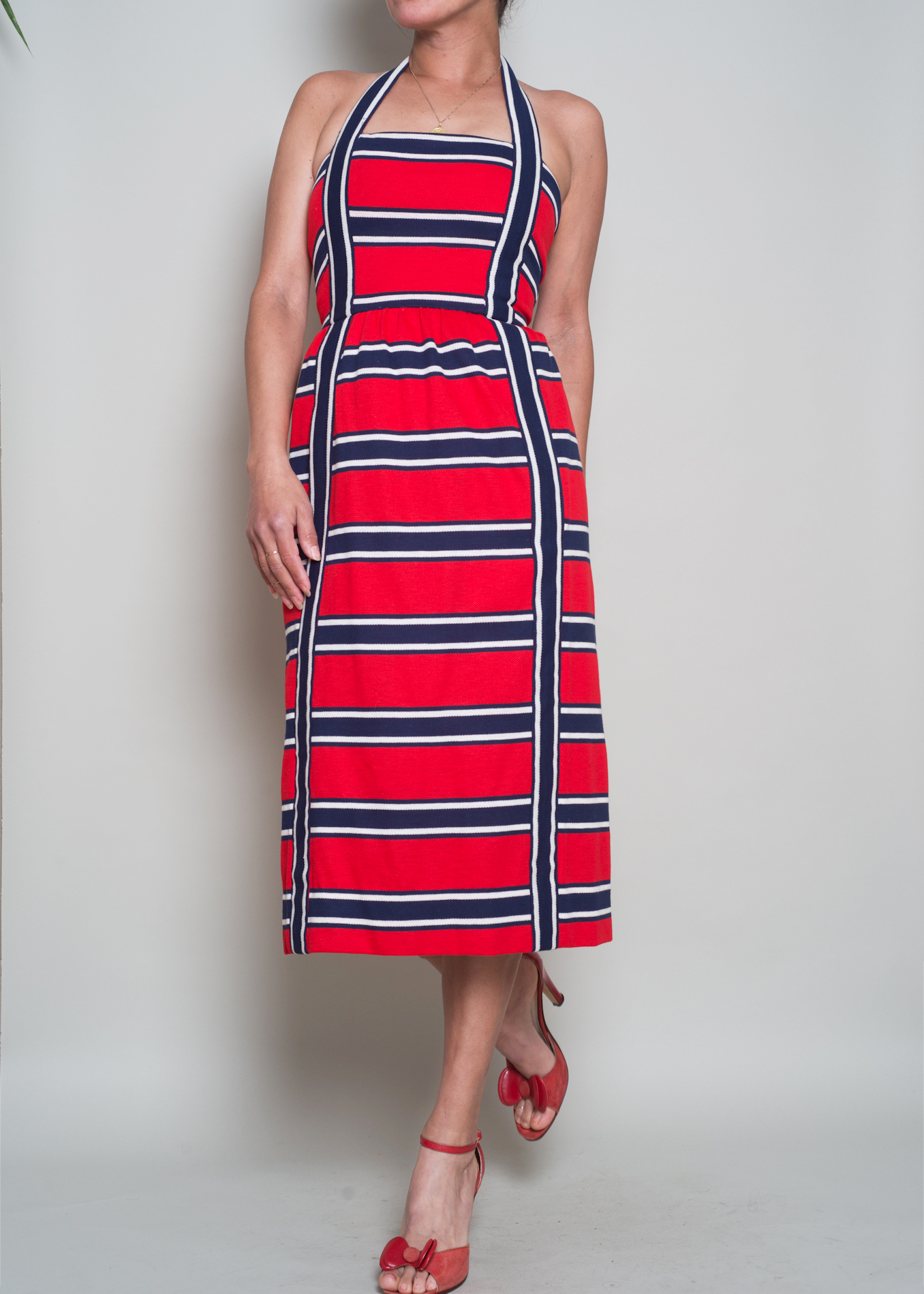 893d84340a7f 1960s// Oscar De la Renta// Red White Blue Stripe Halter// XXS — A ...