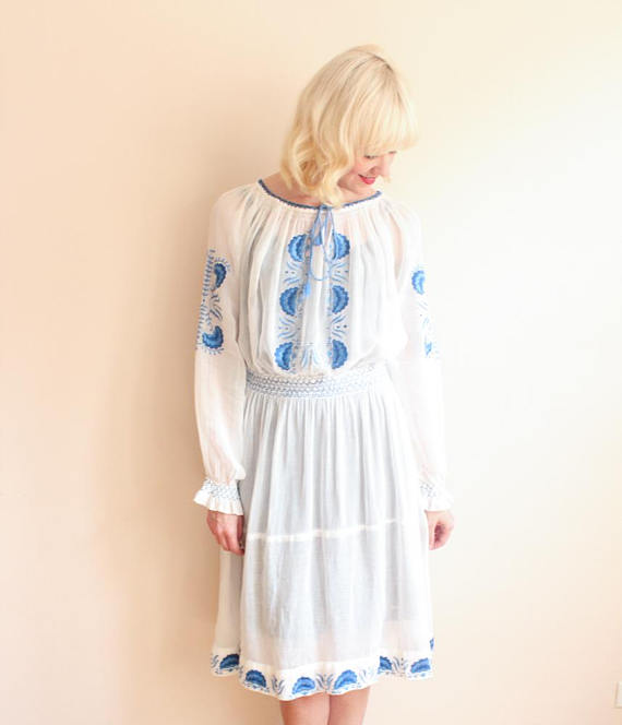 UNDER $500 - Something so pretty... These traditional Hungarian embroidery peasant dresses are always a good bohemian staple. $330 from Dethrose Vintage on Etsy