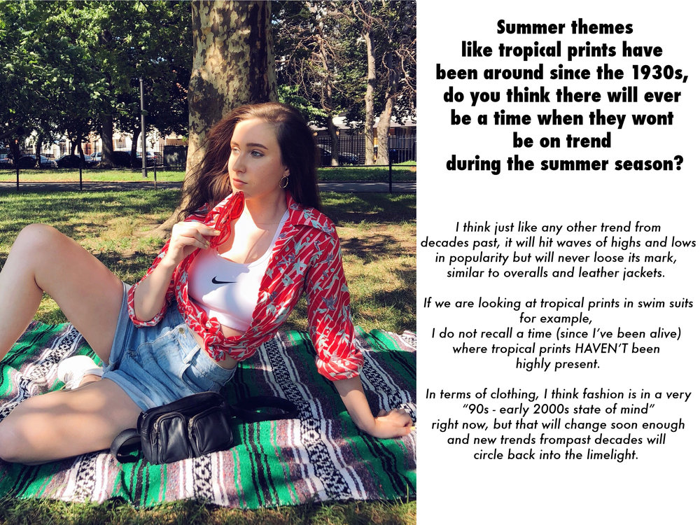 Shelby at McCarren Park Brooklyn in a tropical print 1970s shirt from A Part of the Rest
