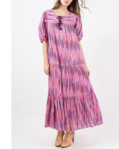 UNDER $500 - The coveted Andini of Sultana airy Indian dresses are a dream for summer. This tiered ikat stripe version is $325