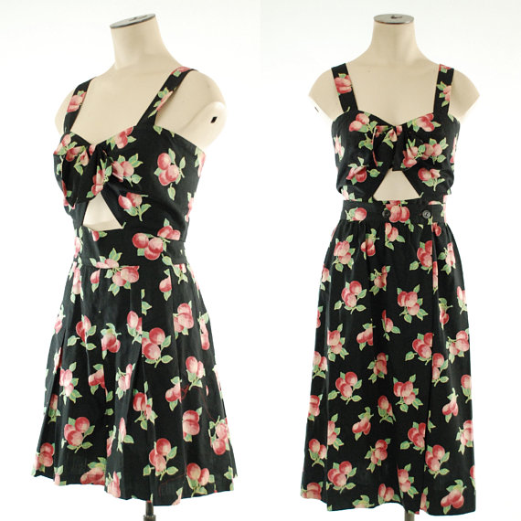 UNDER $500 - Seriously darling, 1940s two piece tie top and skirt set in the cutest crab apple print for $328