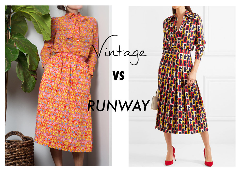 Vtg vs runway - gucci printed shirt skirt set vs celine.jpg