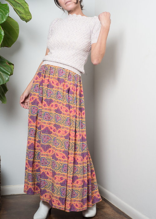 115a385ba 1970s// GIVENCHY Nouvelle Boutique Silk Print Gypsy Midi Skirt// M ...