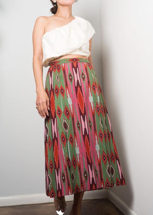 2a080f929 1970s// YVES SAINT LAURENT Rive Gauche Ikat Pleat Skirt// XS  A_Part_of_the_Rest_Vintage_Yves_Saint_Laurent__1970s_ikat_skirt.jpg
