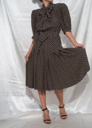 96be6977ea7 1970s   YVES SAINT LAURENT Rive Gauche Silk Polka Dot Pleat Dress   XS