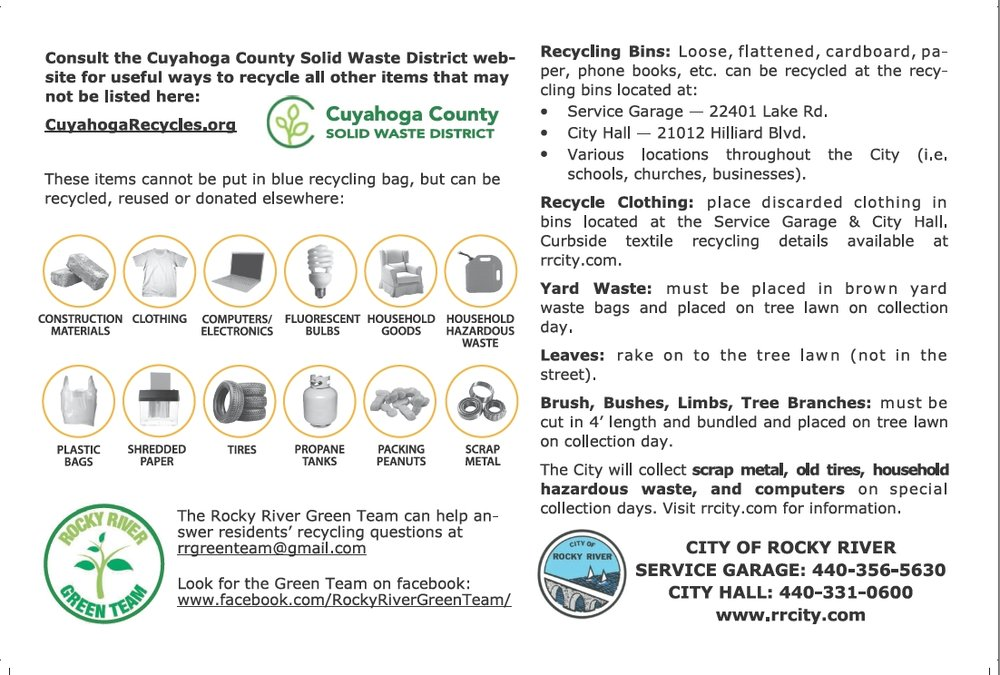 Click image to to view the 2018 Rocky River Recycling Guide