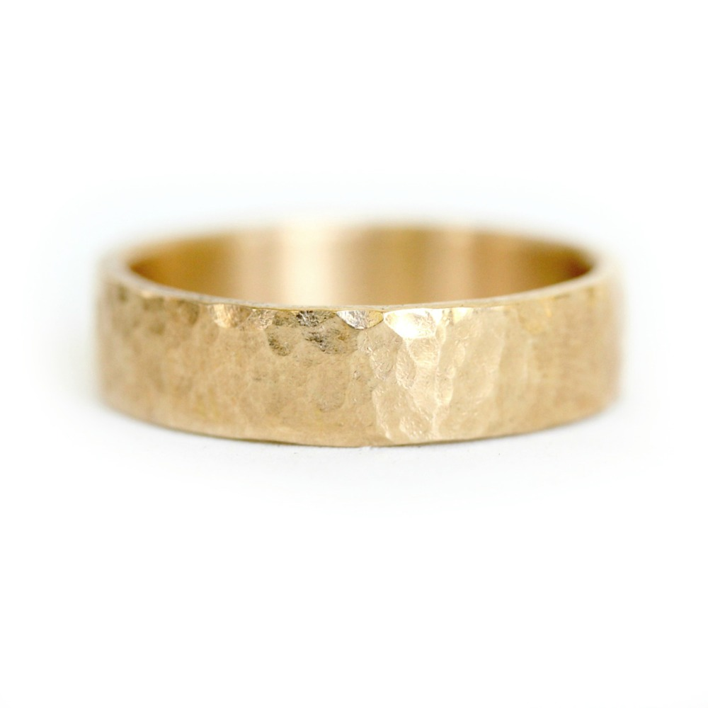 Mens Hammered Wedding Band rounded hammer texture Katie Carder