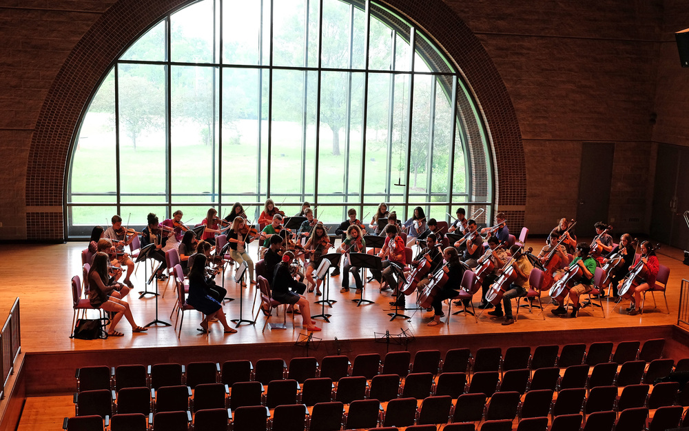 ACMF Unconducted Chamber Orchestra rehearsal.