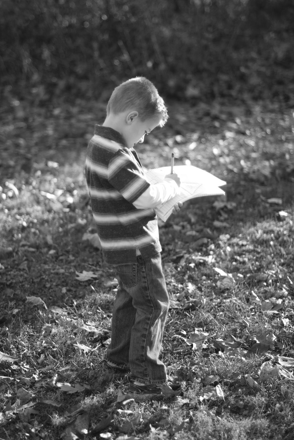 I loved when Owen would grab his pad and paper in between shots. Such a little artist!