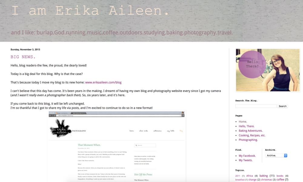 The first online home for Erika Aileen…long before it was any sort of business.