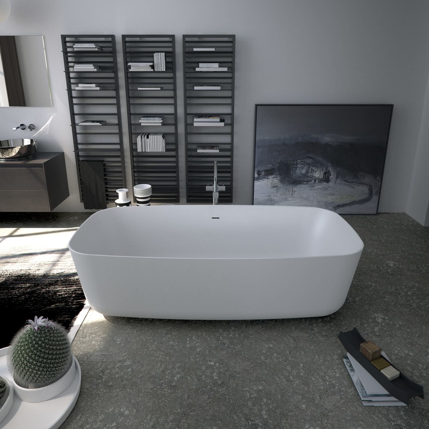 Modern Bathroom with Soaking Tub by Sign