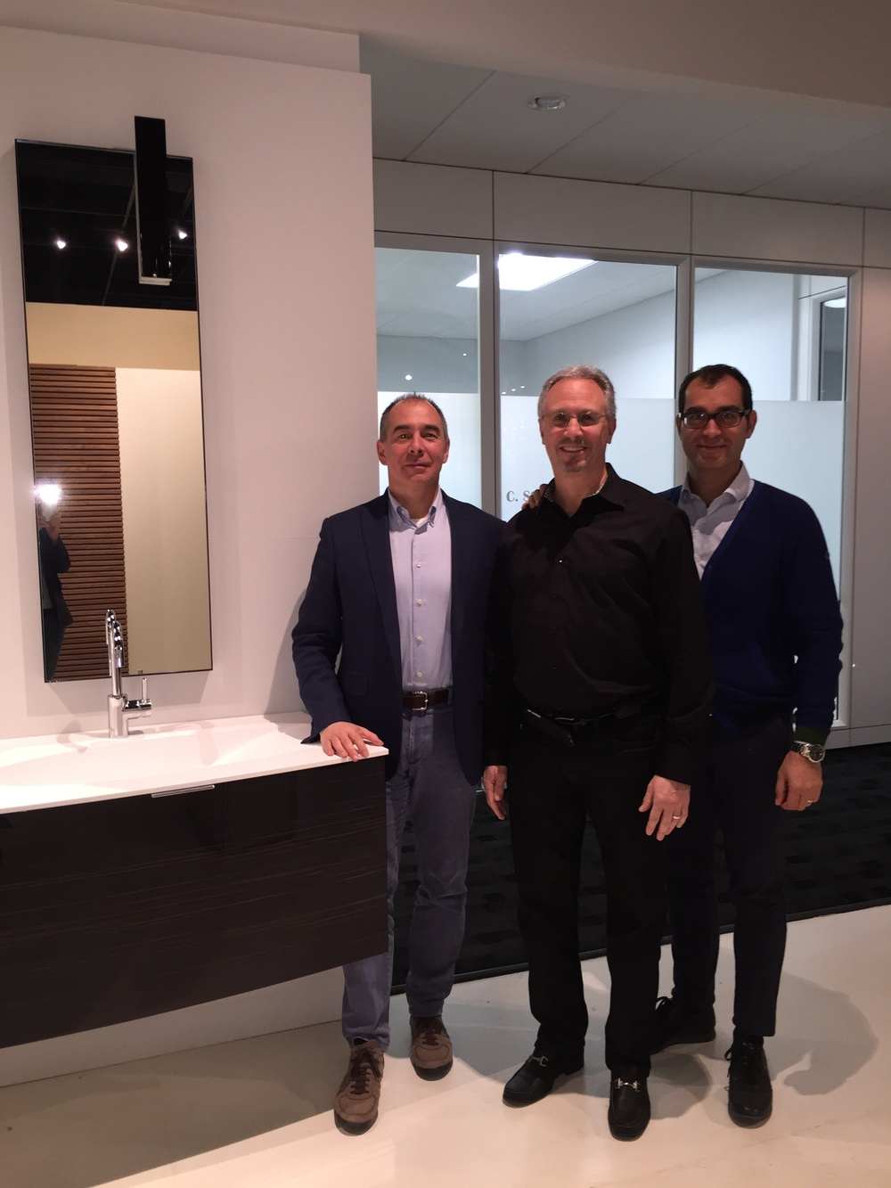 Left to right: Giulio Botteon, Export Manager, Cerasa, Rob Nusbaum, President and CEO, EuroAmerica Design, and Robert Riboldi, Owner/CEO, Cerasa.