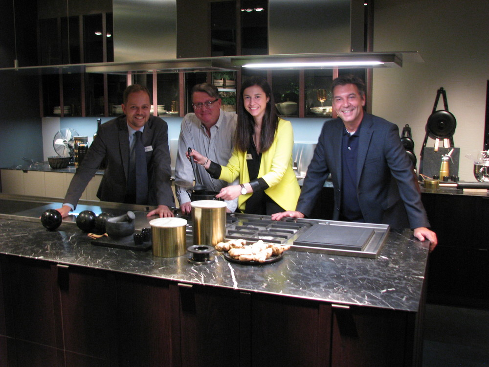 Christian Pusca, Contract and Kitchen Sales Division of A.L.F. Will Oostendorp, VP of Sales for EuroAmerica Distributors.  Chiara Dal Mas, Senior Showroom Designer for Val Design Cucine and Bob Bouwens, EuroAmerica Design.