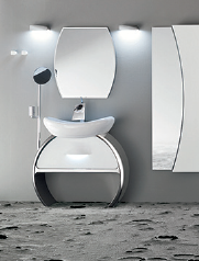 A bathroom designed with Cerasa's Moon Series