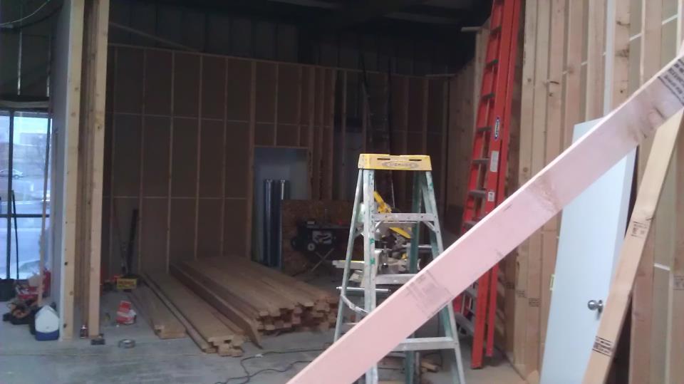 More Studio Construction - view through the future control room window