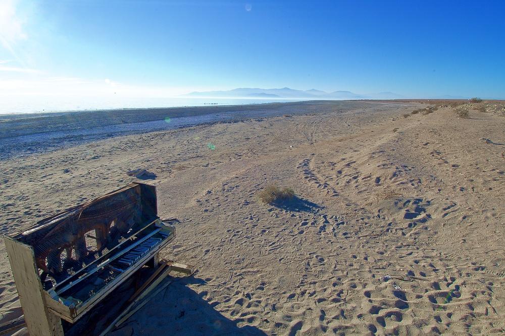 Piano on Deserted Beach