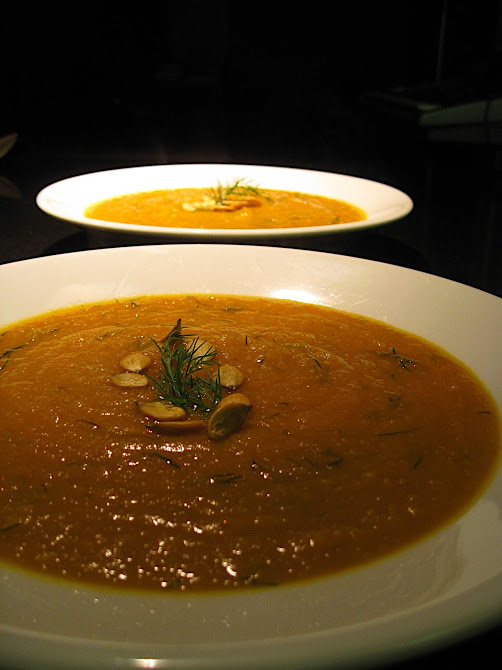 Pumpkin Soup with Roasted Pumpkin Seeds and Fresh Dill