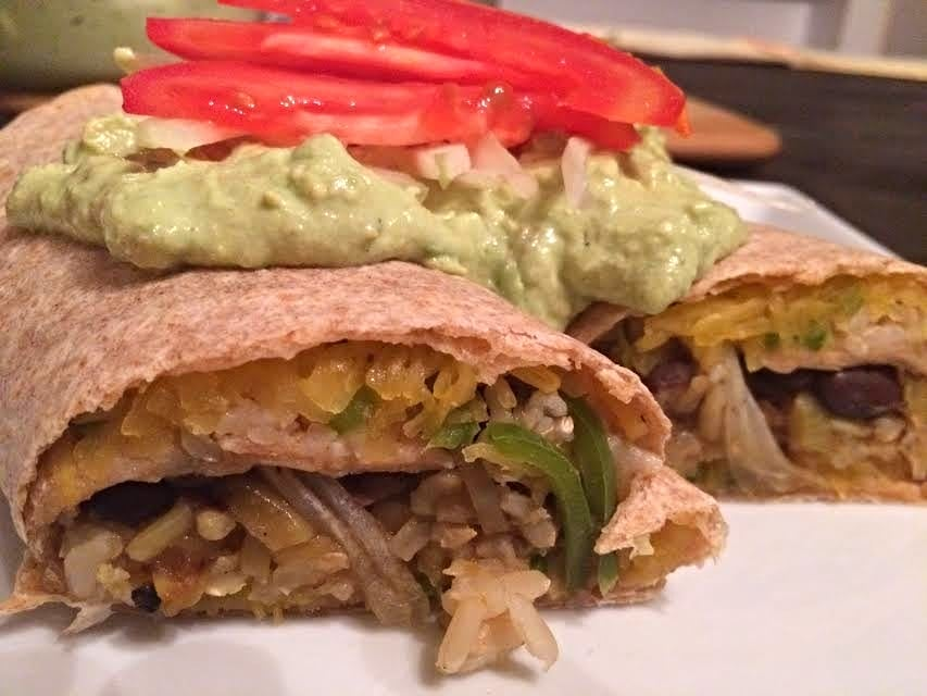Spaghetti Squash Burrito with Avocado Lime Cream