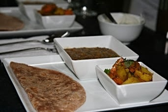 Daal with Vegetable Subzi and Roti