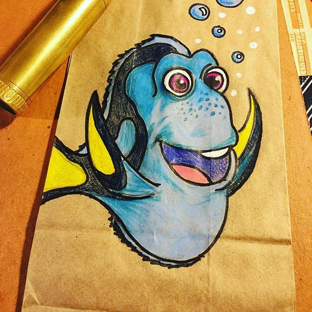 Y'all ever find that fish?  #lunchbagart #dadlife #disney #parenting  #wip #workinprogress #flash #art  #artwork #beard #drawing #draw #ink #illustration #sketchbook  #moleskine  #portrait  #pencil #painting #sketch #beards #sketching #tattoo #selfie #spitshade  #selfies