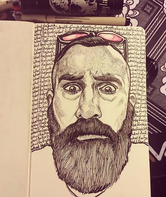 What in the actual F--k?  #wip #workinprogress #flash #art  #artwork #beard #drawing #draw #ink #illustration #sketchbook #microns #moleskine  #portrait #print #pencil #painting #sketch #beards #sketching #tattoo #arches #acrylic #selfie #spitshade  #instaart #pencil #selfies