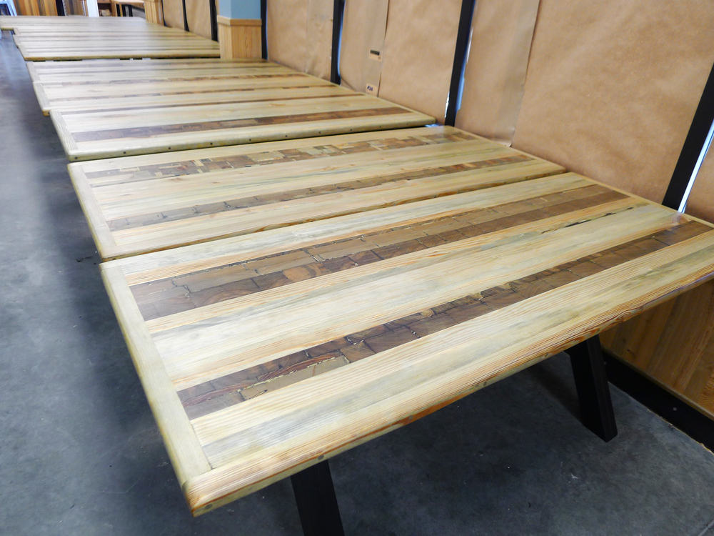 Dining tables hand crafted from heart pine planks and end cuts!