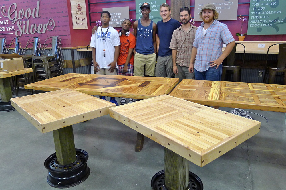 OxForm and Design for Ability shop crew for summer 2013!  OxForm was able to hire on these Savannah High School students as carpenter apprentices for the summer.  Some of the ables pictured include Victory Lanes maple bowling alley lanes, upcycled into their second life here at WFM!