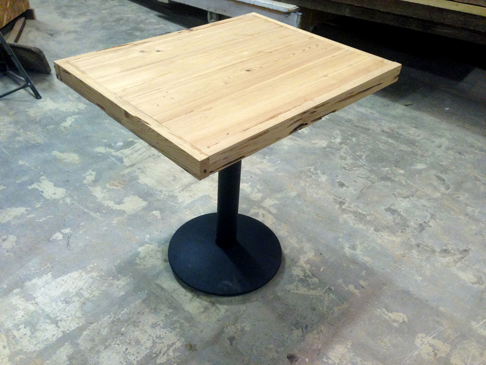 """Free-edge Cypress"" two-top table"