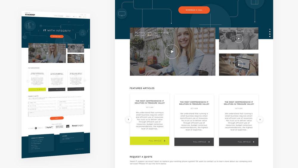 IdaComp.net landing page design