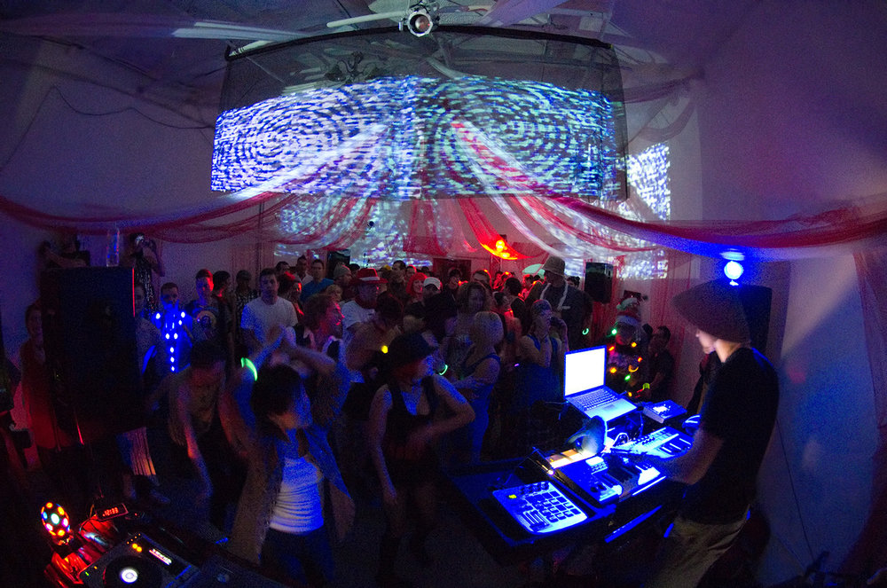 Soundproof had 3 events at the small and aptly-named Box Studios between 2009 and 2010: Bootleg, Tronic, and the circus-themed Audity, seen here.