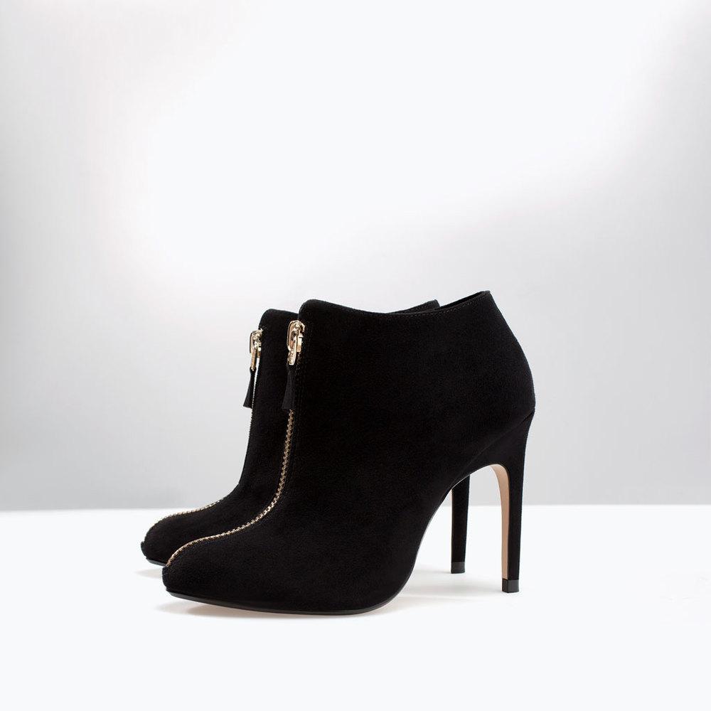 zara high heel ankle boot with zip $79