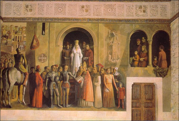 Coronación de Isabel como reina de Castilla. Alcázar de Segovia.